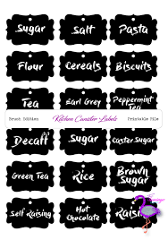 Black And White Kitchen Canisters Kitchen Labels Brush Font Black U0026 White Printable Kitchen