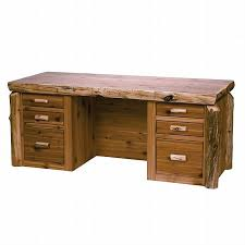 Reclaimed Wood Executive Desk Rustic Cedar Log Standard Finish Executive Desk Reclaimed