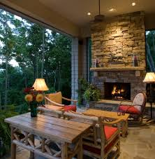 Outdoor Fireplace Images by Corner Outdoor Fireplace Porch Rustic With Ceiling Fan