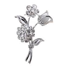 silver flowers silver brooch with two flowers