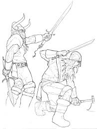 delton demarest arts final line drawing for viking longship