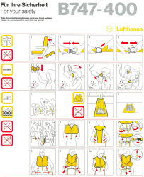 lufthansa airlines boeing 747 400 airline safety cards