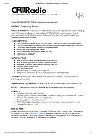 Volunteer Work On A Resume Cfuradio 88 7 Fm