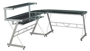 Metal And Glass Computer Desks L Shaped Computer Desk Glass Desk Design Modern Glass L Shaped