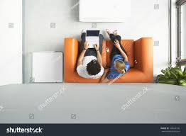 Orange Sofa Living Room by Full Length Top View Man Woman Stock Photo 146047196 Shutterstock