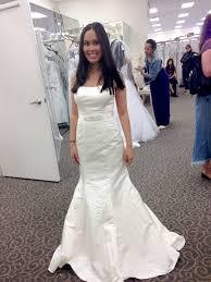 wedding dress david bridal david s bridal satin fit and flare size 3 wedding dress oncewed com