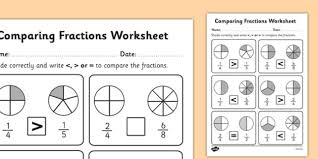 comparing fractions worksheet fractions comparing fractions