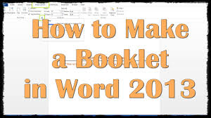 Making A Funeral Program How To Make A Booklet In Word 2013 Youtube
