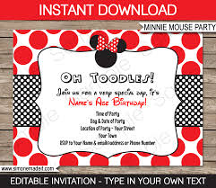 minnie mouse birthday party invitations template red