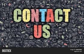 contact us multicolor concept on dark brick wall background with