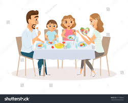 Kids Kitchen Table by Family Eating Meal Around Kitchen Table Stock Vector 571108936
