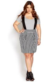 forever 21 railroad stripe overall dress in black lyst