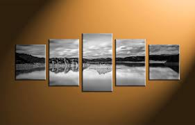 art and home decor 5 piece canvas mountain ocean black and white art