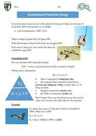 gravitational potential energy by sjah2001 teaching resources tes