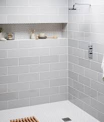 Subway Tiles Bathroom Modern Traditional Bath Gray Subway Tiles Shower Niche Desgin