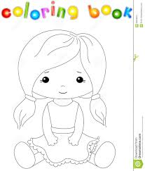 fabric doll white coloring book kids stock vector image