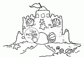 sand castle with a clamshell coloring page for kids summer