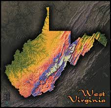 Wv Map West Virginia Map Colorful Hills Mountains And Topography