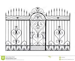 forged fence and door with ornament stock illustration