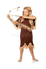 thanksgiving indian with bow and arrow stock image