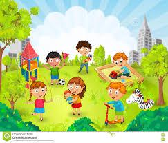 children in the park vector stock vector illustration of