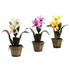 cattleya orchid silk flower arrangement with vase set of 3