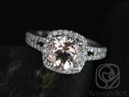 gold and morganite ring rosados box pasley 14kt white gold morganite cushion halo with