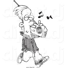 vector of cartoon man carrying a boom box coloring page outline