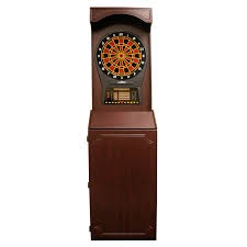 arcade style dart board cabinet with cricket pro 800 darts