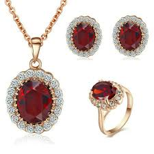 red necklace earrings set images Yoursfs red ruby jewellery sets for women wedding 18ct rose gold jpg