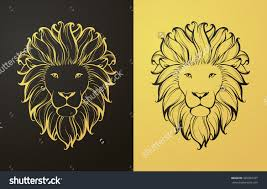 gold and black lion icon linear graphic stylized animal vector