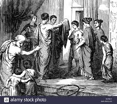 ancient world roman empire people family boy is presented with
