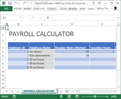 Free Excel Payroll Template Payroll Calculator With Pay Stubs For Excel