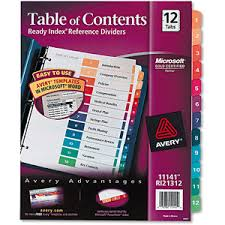 buy avery ready index contemporary table of contents divider 11143