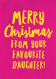 merry christmas favourite daughter xmas card fun pink