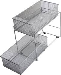 ybm home silver 2 tier mesh sliding pantry closet spice and sauces