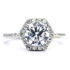 unique engagement ring settings unique hexagon shaped halo diamond engagement ring setting for 2