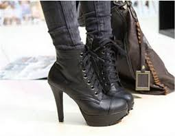 lace up moto boots motorcycle lace up ankle leather boots high heels black punk rivets