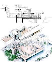 frank lloyd wright fallingwater isometric section drawing
