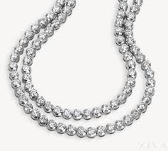 all diamond necklace images 2 row diamond tennis necklace png