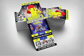 pokemon ticket style cartoon invites u2013 cartoon invites