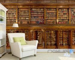 3d Bookshelf 3d Retro Libary Bookshelf Wall Paper Mural Art Print Decals Office