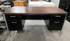 metal desk with laminate top images of hon black metal desk with walnut laminate top