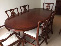 reproduction mahogany dining room table and 6 chairs in