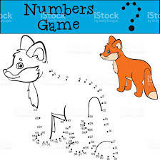 educational games for kids numbers game little cute baby fox stock