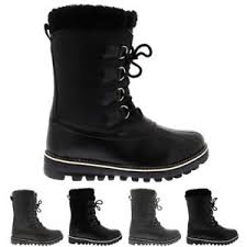 boots uk womens duck waterproof winter fleece lined warm mid calf