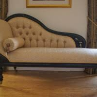 Cream Leather Chaise Brown Stained Wooden Leg With Cream Leather Seat Built In Hidden