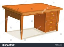 Office Desk Cartoon Office Desk Illustration Cartoon Wooden Stock Vector