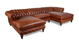 cococohome classic chesterfield double chaise leather sectional