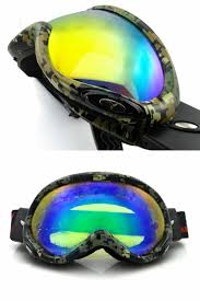 electroplating anti fog ski goggles fitted with glasses windproof